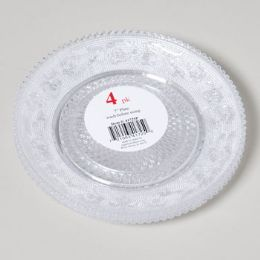 96 Units of Plate 4pk 7in Clear Crystal- Look - Disposable Plates & Bowls