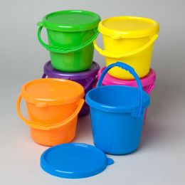 48 Units of Play Pail With Cover & Handle - Buckets & Basins