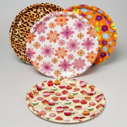 96 Units of Serving Tray Round Flat 13.75 Inch 4 Asst Designs In Pdq - Serving Trays