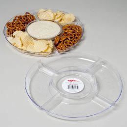 48 Units of Tray 5 Section Clear Round 12.75 Dia Crystal Look In Pdq 189g #219 - Serving Trays