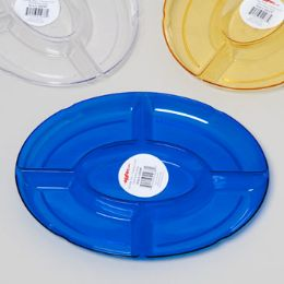 96 Units of Tray 5 Section Oval 12-1/2x9-3/4 Random 3-6 Colors In Pdq Crystal Look - Serving Trays