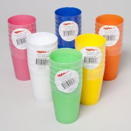 96 Units of Tumblers 10 Oz 6pk 6 Colors In Pdq White Pdq Colors: Blue, White, Orange, Green, Yellow, Pink - Plastic Drinkware