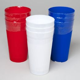 96 Units of Tumblers 22 Oz 3ct Red, White, Blue In Pdq In White Pdq 99g / 3.5 oz - Plastic Drinkware