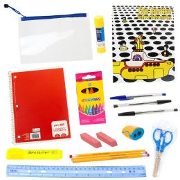 24 Units of 20 Piece Wholesale Kids School Supplies Kit - School and Office Supply Gear
