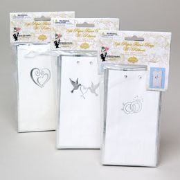 144 Units of Favor Bag W/ribbon Trm 8pk Paper Ht Stmp 6x3x1.75 6 Ast Wed Pbh - Gift Bags
