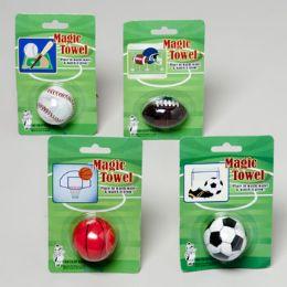 144 Units of Magic Towel Sport Ball Shapes 4asst - Balls