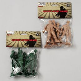 96 Units of Military Figure Playset 4pk 4in Soldiers 2ast Color - Action Figures & Robots