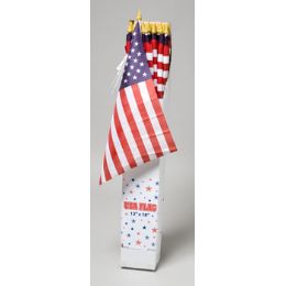 96 Units of American Flag 12x18 On 32in Wood Pole In Sidekick Display Logo LabeL - 4th Of July