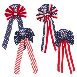 96 Units of Patriotic Velvet Bow - 4th Of July