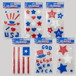 144 Units of Gel Stickers Patriotic 6asst - 4th Of July