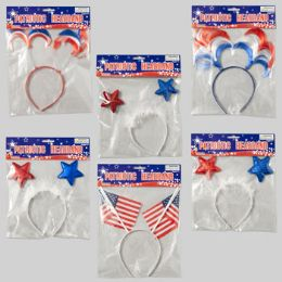 96 Units of Headband Patriotic 6asst Flag/3 Stars/2 Hair Styles Patriotic - 4th Of July