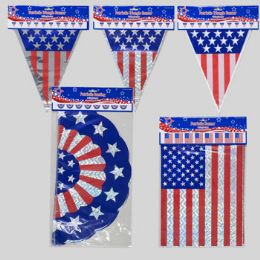 144 Units of Patriotic Banner 12ft 3asst Bunting/flag/triangle 3finish Patriotic - 4th Of July