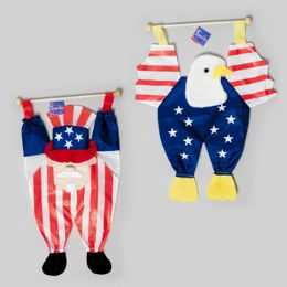 72 Units of Patriotic Hang Decor On Dowel Uncle Sam Or Eagle 13.5 X 23.5 Patriotic Hangtag - 4th Of July