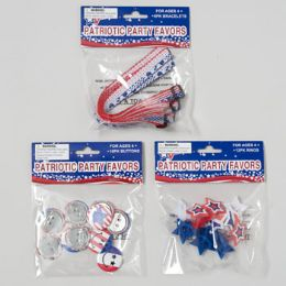 144 Units of Patriotic Party Favors 3asst 12pk Ring/10pk Button/6 Bracelet Patriotic Polybag Header - 4th Of July