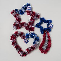 96 Units of Patriotic Tinsel Decor 12-16in Star/shooting Star/heart 3asst Gov Patriotic Hangtag - 4th Of July