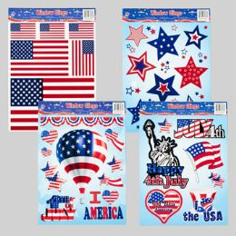 96 Units of Window Cling Patriotic 4asst Designs - 4th Of July