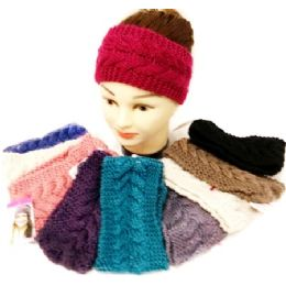 36 Units of Knitted Ear Band Headband Solid Color Assorted - Headbands