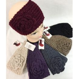 36 Units of Solid Knitted Flower Headband Dark Assortments - Headbands