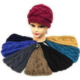 24 Units of Solid Color Interchange Pattern Knitted Headband Ast - Headbands