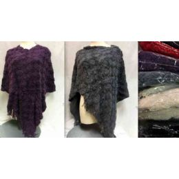 12 Units of Knitted Poncho Block Textured Assorted - Womens Sweaters & Cardigan