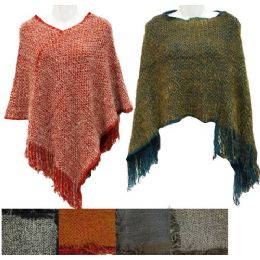 12 Units of Knitted Poncho W/ Fringes And Faux Fur Feel Assorted - Womens Sweaters & Cardigan