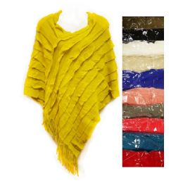 12 Units of Knit Poncho Shawl Assorted Ruffle Lined Pattern - Womens Sweaters & Cardigan