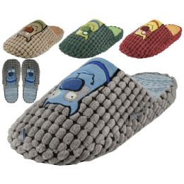 36 Units of Men's Cotton Corduroy With Dog Embroidery Upper House Slippers - Men's Slippers