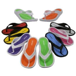 48 Units of Girl's Sport Multi Colors Flip Flops - Girls Flip Flops