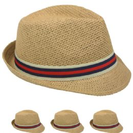 48 Units of Tan Color Fedora Hat With Two Color Band - Fedoras, Driver Caps & Visor