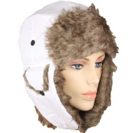 48 Units of Solid White Trapper Hat With Faux Far Lining And Strap - Trapper Hats