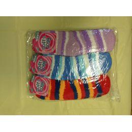 120 Units of Women Fuzzy Socks Size 9-11 Stripe - Womens Fuzzy Socks