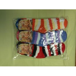 120 Units of Woman Fuzzy Socks Size 9-11 3 Tone Color - Womens Fuzzy Socks