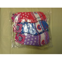 120 Units of Woman Fuzzy Sock Size 9-11 Heart Print - Womens Fuzzy Socks