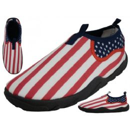 36 Units of Men's Us Flag Printed Water Shoes - Men's Aqua Socks