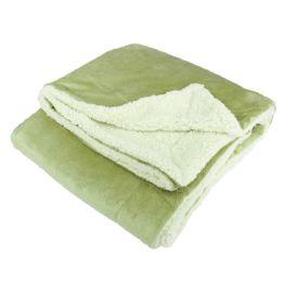 12 Units of UltrA-Plush Reversible Throw Blanket Sage - Blankets & Bedding