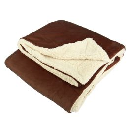 12 Units of UltrA-Plush Reversible Throw Blanket Chocolate - Blankets & Bedding
