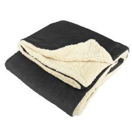 12 Units of UltrA-Plush Reversible Throw Blanket Black - Blankets & Bedding