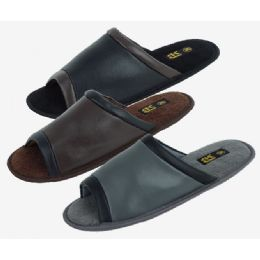 36 Units of Mens Open Toe Slipper Assorted Colors - Men's Slippers
