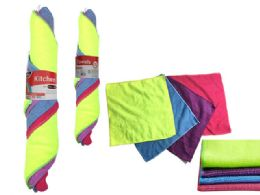 72 Units of 4 Piece Microfiber Cleaning Cloth - Cleaning Products