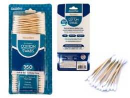 72 Units of 350pc Wooden Cotton Swabs - Cotton Balls & Swabs