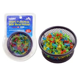 144 Units of Push Pins 100pc W/Metal Holderclear Dou Blister - Push Pins and Tacks