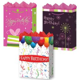 144 Units of GraB-Bag L Mat BirthdaY-Day 3 Styles - Gift Bags