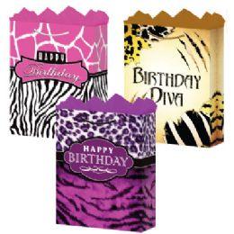 144 Units of GraB-Bag Large Gls BirthdaY-Day Safari 3 Styles - Gift Bags