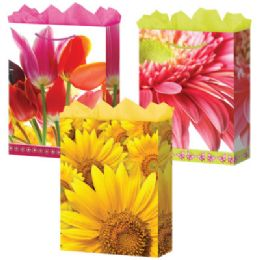 288 Units of GifT-Bag Medium Gls Floral 3 Styles - Gift Bags