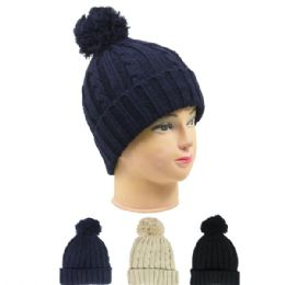 36 Units of Woman Winter Hat With Pom Pom In Assorted Color - Fashion Winter Hats
