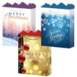 144 Units of GifT-Bag Jumbo Gls Holiday #2 3 Asst - Gift Bags