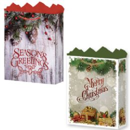 144 Units of GifT-Bag Large Mat Rustic Christmas 2 Asst - Gift Bags