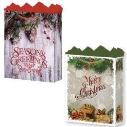 144 Units of GifT-Bag Jumbo Mat Rustic Christmas Asst - Gift Bags