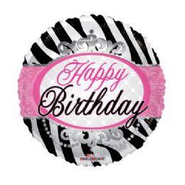 100 Units of CV 18 DS SV Birthday Zebra Print - Balloons/Balloon Holder