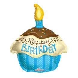 100 Units of CV 18 DS HBD Cupcake Blue - Balloons/Balloon Holder
